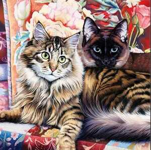 クロスステッチキット 寄り添う猫 ねこ ネコ 33×33cm 14CT 刺繍