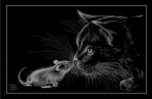 クロスステッチキット cat and mouse 猫とネズミ モノクロキャット 14CT 49×32cm 刺繍