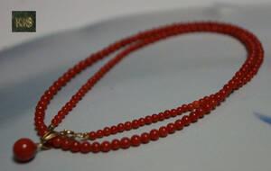 【閑】天然赤珊瑚 ネックレス 金具イエローゴールド K18 宝石鑑別書付 重さ5g☆3D0904■