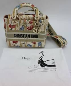 未使用 クリスチャン ディオール Christian Dior レディディオール LADY DIOR ミディアム 2way ハンド ショルダー バッグ キャンバス