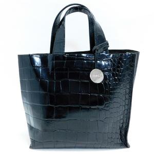 美品FURLAフルラ ハンドバッグ クロコ型押しレザー 黒 良品 正規品