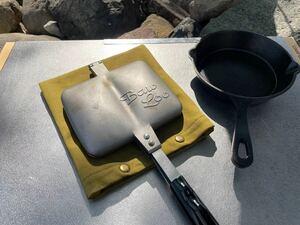 ホットサンドメーカーケース(抹茶) ホットサンドメーカー ケース カバー 鍋敷き アウトドア キャンプ キッチン 帆布