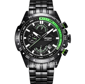 ★上質新品★男性高級腕時計 機械式自動巻 45mm 多機能 カレンダー 曜日表示 メンズウォッチ 夜光 防水 紳士 ビジネス グリーン◇
