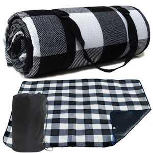 BW21 レジャーシート 厚手 ブラック×ホワイト黒白 200×150cm 収納袋付き