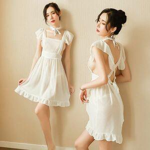最新作. 可愛い メイドさんイメージ ベビードール+Tバック2点セット ワンピース コスプレ衣装 ナイトウエア ホワイト