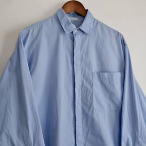 【 Y's for men 】ワイズフォーメン ヨウジヤマモト コットン ビッグポケット 比翼 長袖シャツ/ ライトブルー系 / F / 水色
