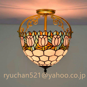 美品登場☆ペンダントライト豪華天井照明ステンドグラスランプ ガラス工芸品