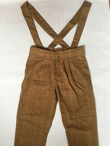 古着 チェック柄 サロペット レディース ズボン ゆったり 体型カバー Mサイズ