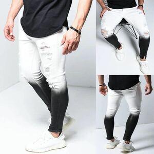 ジョガーパンツ グラデーション テーパード ボトムス スキニーパンツ パンツ 黒 ブラック 白 ホワイト ストリート メンズ デニム M