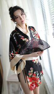 セクシー コスプレ 花魁 和服 着物 ランジェリー 衣装 女性 和風 和装 コスチューム 豪華4点セット(黒赤)
