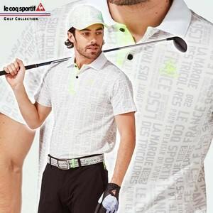 ◆極美品 LECOQ GOLF ルコックゴルフ 20SS 吸汗速乾 ドライ 総柄 半袖 ポロシャツ LL