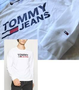 【既決USA】トミーヒルフィガー★TOMMY HILFIGER@完売胸元&袖刺繍【Flag】ロゴ入長袖T【Tommy Jeans Bold Logo Graphic Long Tee】 白 @L