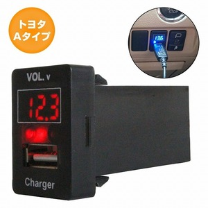 トヨタAタイプ ラクティス 100系 H17.10~H22.10 LED:レッド 電圧計表示 USBポート 充電 12V 2.1A 増設 パネル USBスイッチホールカバー