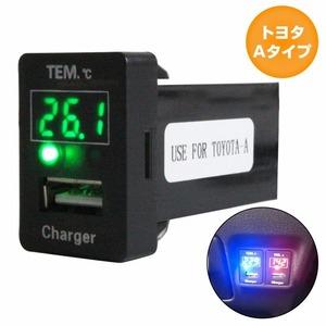 トヨタAタイプ ラクティス 100系 H17.10~H22.10 LED/グリーン 温度計+USBポート 充電 12V 2.1A 増設 パネル USBスイッチホールカバー 電源