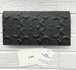 COACH コーチ 折り財布 F75365 シグネチャー エンボス加工型押し ブラック アウトレット品