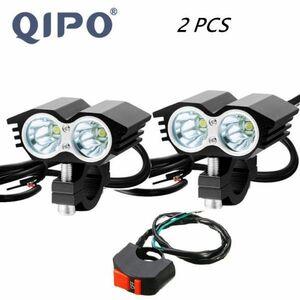 ◆◇高品質◇◆2個セット 30W 5000LM オートバイヘッドライト スポットライト2x XM-L T6 LEDフォグランプ付き スイッチ付き ライト ランプ