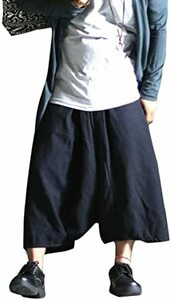 ブラック Free Size ワイドパンツ ガウチョパンツ スカンツ スカーチョ 袴パンツ/A