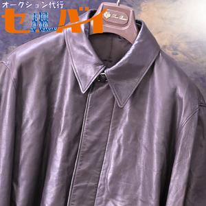 本物 極上品 エルメス 最高級牡牛革ヴォーカーフスキン ベルト付きロングレザーコート メンズ50 アウター ジャケット 収納バッグ付 HERMES