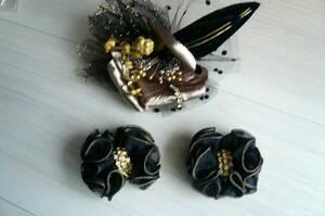 コサージュ1個 靴飾りクリップ2個 コサージュ約10cm 靴飾り約5cm