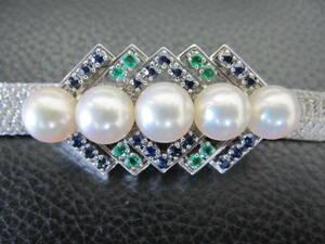 ミキモト K14WG 帯留め 真珠8.5㎜球×5個+サファイア + エメラルド