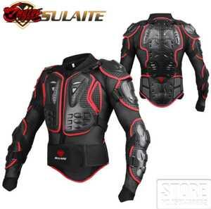 オートバイレーシングアーマー ジャケットバイク抵抗フルボディ レース 黒赤 モトクロスジャケット 保護 プロテクター 1116黒赤