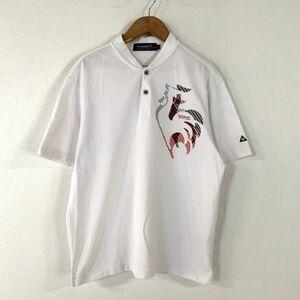le coq sportif golf ルコックスポルティフ ゴルフ ビッグプリント 半袖 ポロシャツ メンズ Mサイズ ホワイト