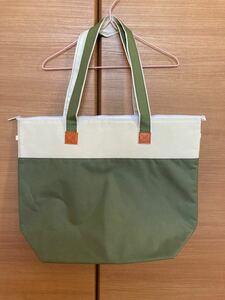 ファスナー付き 保冷 保温 トートバッグ グリーン 緑 シンプル レジャーバッグ