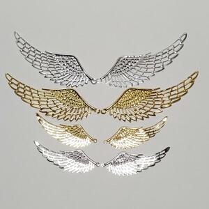 翼 羽のセット レジン オルゴナイト 資材 素材 チャーム 薄め 左右 ゴールドカラー シルバーカラー セット 綺麗 ハンドメイド