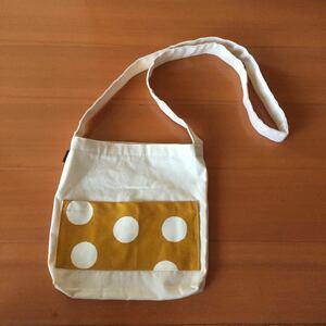 ハンドメイド 帆布の水玉ショルダーバッグ 未使用