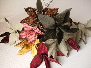 布製花シ78-A■手作り布フラワー10本セット■ハンドメイド造花ワイヤー