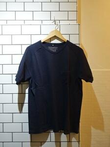 ナイジェルケーボン Nigel Cabourn Tシャツ ★Vネック ポケット ネイビー サイズ50