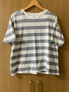 niko and... ニコアンド ボーダー Tシャツ 半袖 グレー