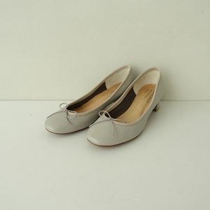 ■マーガレットハウエル MARGARET HOWELL idea *レザーローヒールパンプス 23*ライトグレー皮革靴シューズレディース0921【12I12】