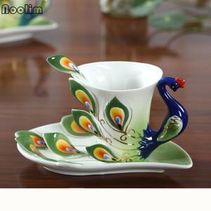 新品 鳥 ソーサー コップ 食器 AT9596 洋食器 茶器 ★★オシャレな孔雀のコーヒーカップ【180ml】キッチYA88
