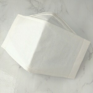ハンドメイド 綿麻無地ホワイト 大臣風 立体 インナー 大人用 白 箱型 舟形 接触冷感に変更可能