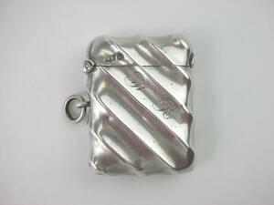 アンティーク1923年英国シェフィールド ストライプ デザイン純銀 マッチケース★SILVER スターリングシルバー 喫煙具 マッチ入れ