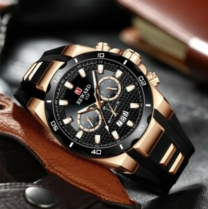 R074 報酬メンズ腕時計シリコーンの高級クォーツ時計男性ファッション発光クロノグラフ、防水メンズ腕時計レロジオmasculino