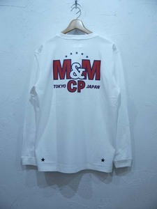M&M PRINT L/S T-SHIRT(21-MT-025)/WHITE/Lsize/新品・未使用品
