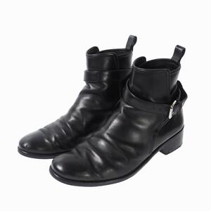 ルイヴィトン LOUIS VUITTON ベルト付 レザー ヒール ブーツ 6 1/2 25.5cm 黒 ブラック メンズ