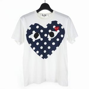 プレイコムデギャルソン PLAY COMME des GARCONS 2019SS ポルカドット ハート ワッペン プリント Tシャツ カットソー 半袖 S ホワイト 白