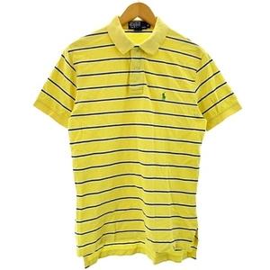 ポロ バイ ラルフローレン Polo by Ralph Lauren ポロシャツ 半袖 ボーダー ポニー刺繍 カットソー リブ イエロー 黄色 M メンズ