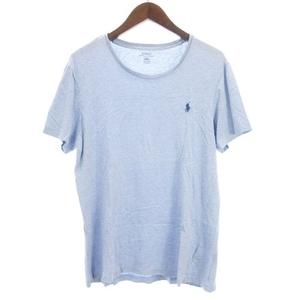 ポロ ラルフローレン POLO RALPH LAUREN Tシャツ カットソー 半袖 クルーネック ロゴ刺繍 ライトブルー 水色系 M ■SM メンズ