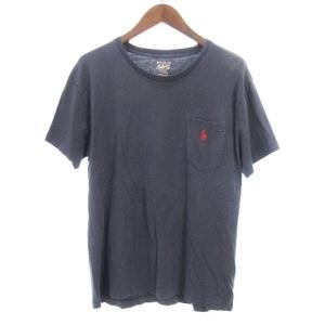 ポロ ラルフローレン POLO RALPH LAUREN Tシャツ カットソー 半袖 クルーネック ロゴ刺繍 胸ポケット ネイビー 紺 M ■SM メンズ