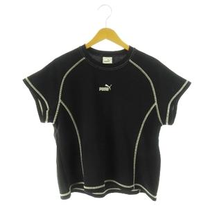プーマ PUMA Tシャツ カットソー クルーネック 半袖 ロゴ刺繍 ステッチ ライン スポーツ M 黒 ブラック /AH11 ☆ メンズ