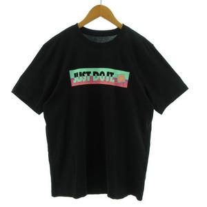 未使用品 ナイキ NIKE Tシャツ 半袖 丸首 JUST DO IT プリント ブラック 黒 マルチカラー M メンズ