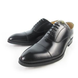 未使用品 リーガル REGAL 811R ビジネスシューズ ストレートチップ 内羽根 黒 ブラック レザー 25cm 革靴 メンズ