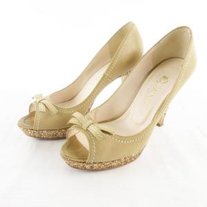 ダイアナ DIANA パンプス ヒール オープントゥ リボン ベージュ ゴールドラメ レザー 23cm 靴 レディース