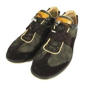 ルイヴィトン LOUIS VUITTON ダミエ ドローコード スニーカー シューズ 靴 キャンバス×スエード レザー サイズ7.5 ブラウン 茶色 メンズ