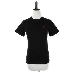 ポロ ラルフローレン POLO RALPH LAUREN Tシャツ カットソー 半袖 クルーネック 薄手 コットン ロゴ S 黒 ブラック トップス レディース