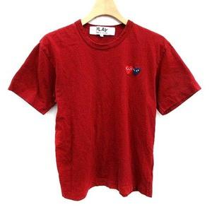 プレイコムデギャルソン PLAY COMME des GARCONS AD2020 Tシャツ カットソー ダブルハート ワッペン 半袖 コットン S 赤 レッド /YM メンズ